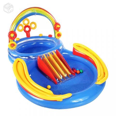 Piscina inflavel infantil playground arco iris intex for Piscina inflavel arco iris intex playground com escorregador