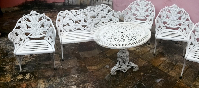 mesa de jardim ferro:Conjunto Mesa Duas Cadeiras Verga Mesas Jardim
