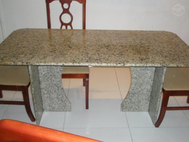 Mesa de granito cor bege com 5 cadeiras ofertas vazlon brasil - Mesa de granito ...