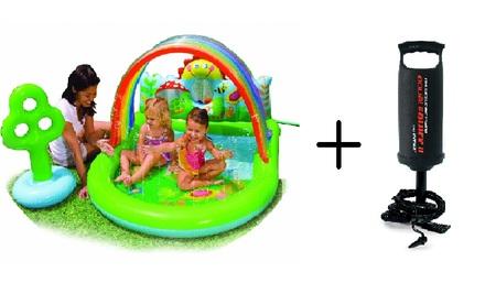 Piscina inflavel infantil playground arco iris vazlon brasil for Piscina inflavel arco iris intex playground com escorregador