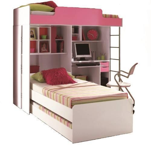cama triliche quarto de menina com armario bau e mesa  ~ Quarto Planejado Triliche