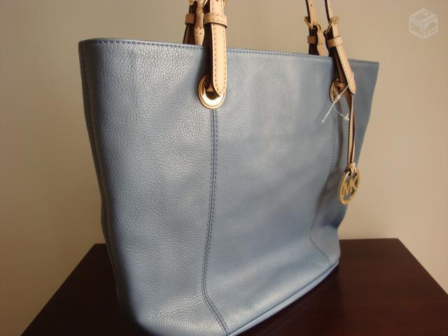 Bolsa De Couro Legitimo Azul : Bolsa michael kors original azul em couro legitimo