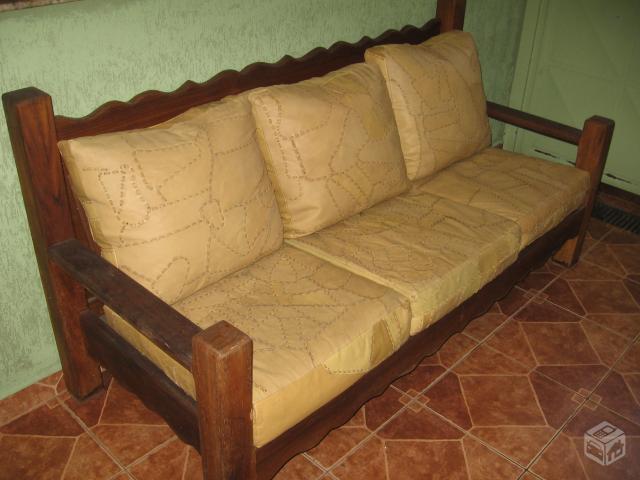 Jogo de sofas estilo colonial rustico fino 2 e 3 lugares for Sofa cama rustico