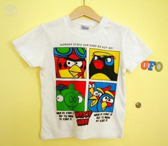 Camiseta Angry Birds Infantil Branca Personagem