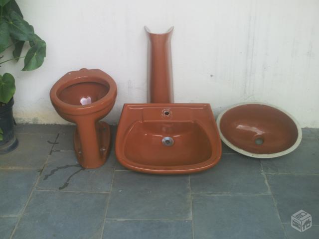 conjunto bacia e lavatorio cuba de embutir e coluna marrom  Vazlon Brasil -> Cuba Para Banheiro Caramelo