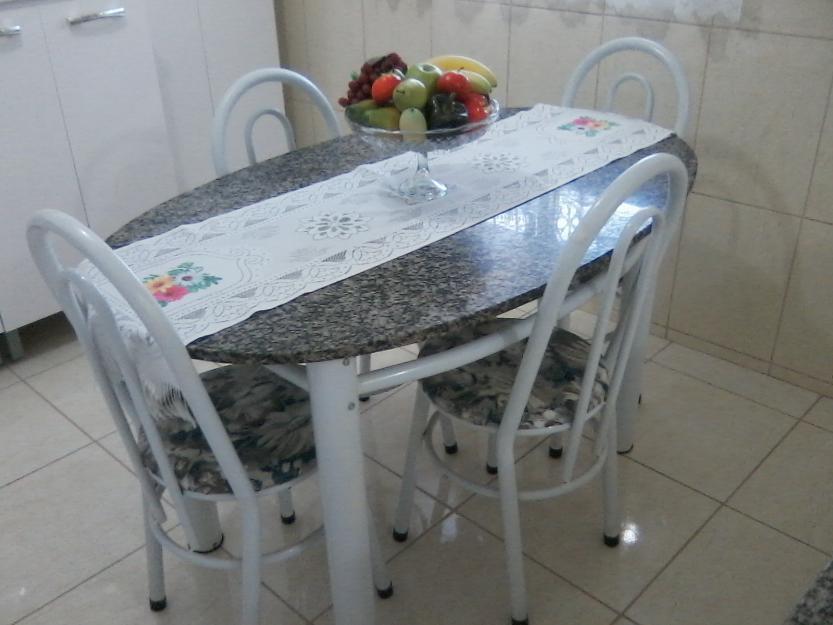 Mesa de granito tubular com 4 cadeiras compacta vazlon - Mesa de granito ...