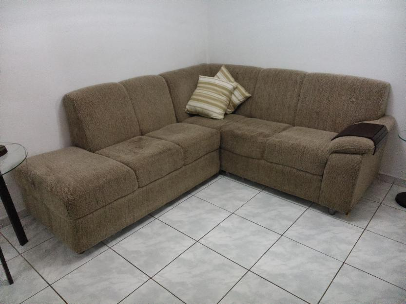 Sofa de canto em tecido cor bege vazlon brasil for Sofa 6 lugares de canto
