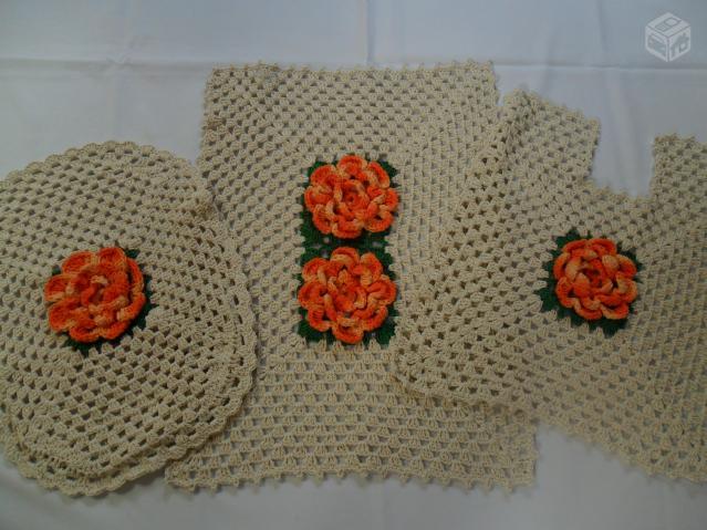 Tapete Floral Para Banheiro : conjunto de tapetes para banheiro com 3 pecas bordados a Vazlon