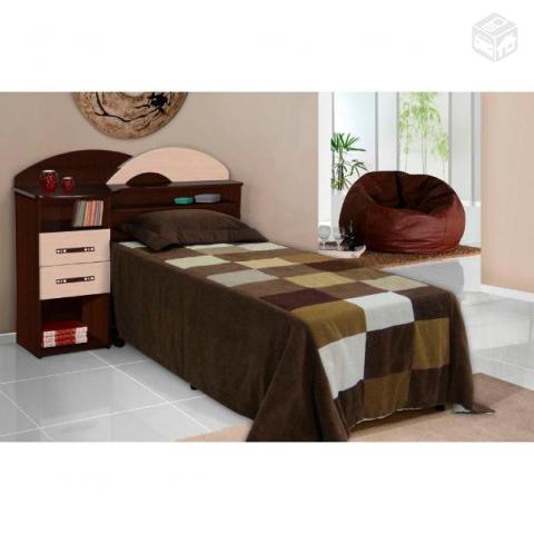 37a48bac99 cama de solteiro nova na cor tabaco com maple   OFERTAS