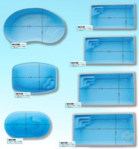Piscina de fibra varios tamanhos com parcelas a partir de for Medidas de una alberca pequena