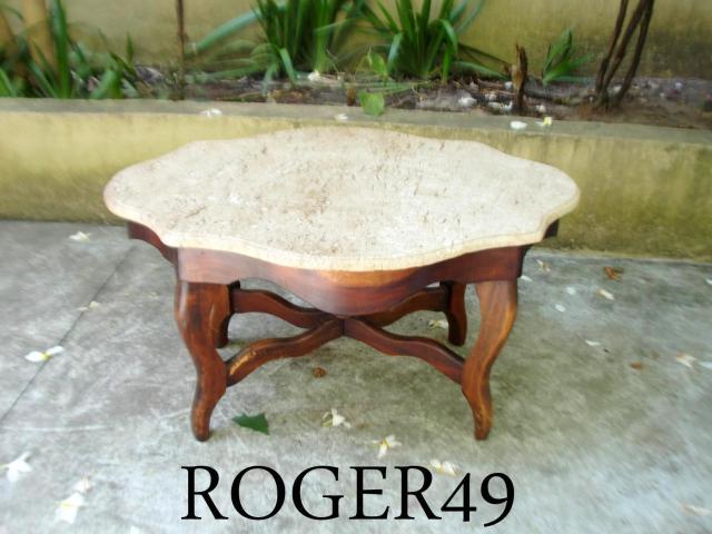 Mesa de centro ovalada c granito em madeira nobre - Mesa de centro ovalada ...