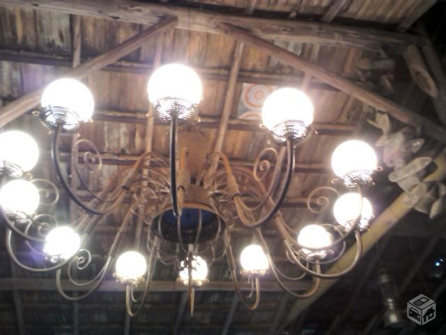 Lustre Artesanal ~ lustre em ferro e madeira [ OFERTAS ] Vazlon Brasil