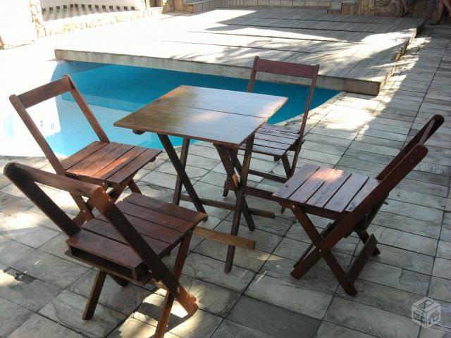 mesa e cadeiras dobraveis x para bar rusticas