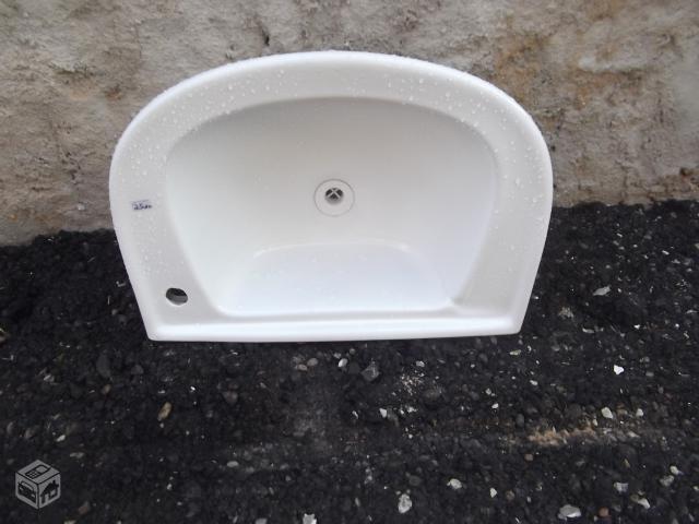 pia com suporte marca celite cor agua marinha  Vazlon Brasil -> Pia Para Banheiro Celite