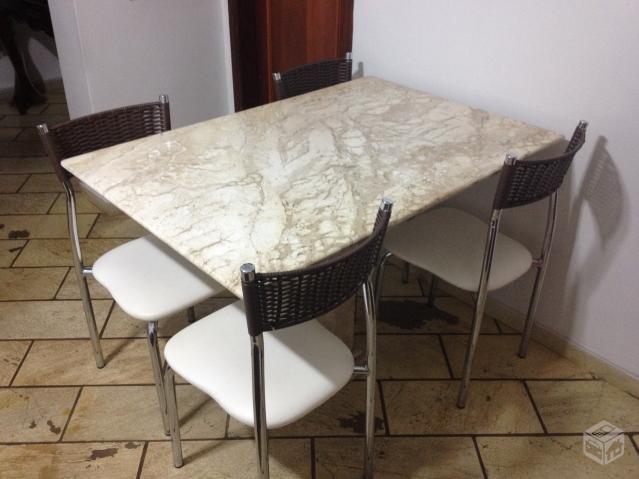 Mesa de granito com 4 cadeiras verde e branco vazlon brasil - Mesa de granito ...