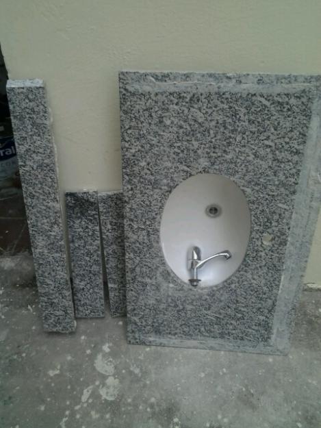 pia granito banheiro x saia frente e lado direito  Vazlon Brasil # Pia Banheiro Saia