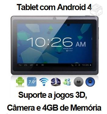 Tablet com Android 4 - R$