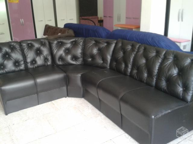 sofa de canto preto em corino ou tecido novonovo 【 OFERTAS ...