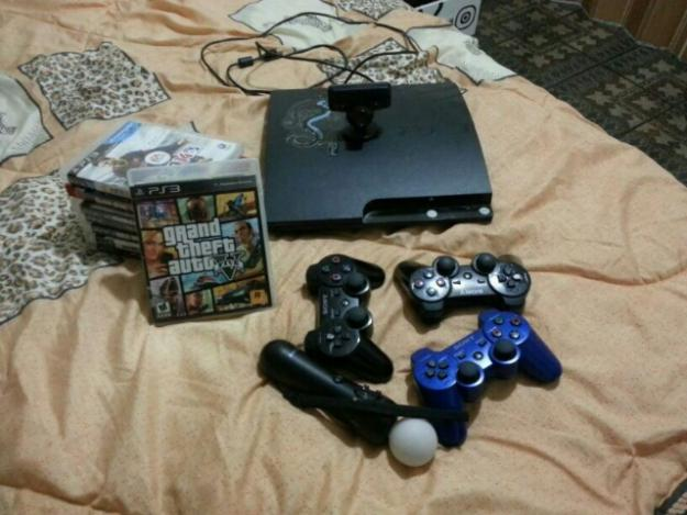 ps3 slim gb  jogos kit move completo