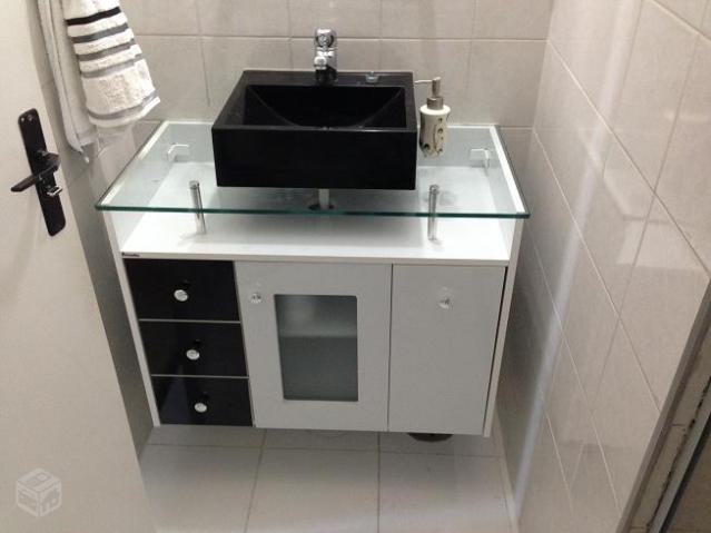 gabinete com tampo e cuba para banheiros  Vazlon Brasil -> Gabinete De Banheiro Tampo De Vidro
