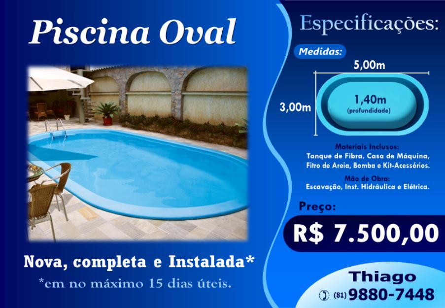 Piscina de fibra oval m x m x m vazlon brasil for Valor piscina de fibra