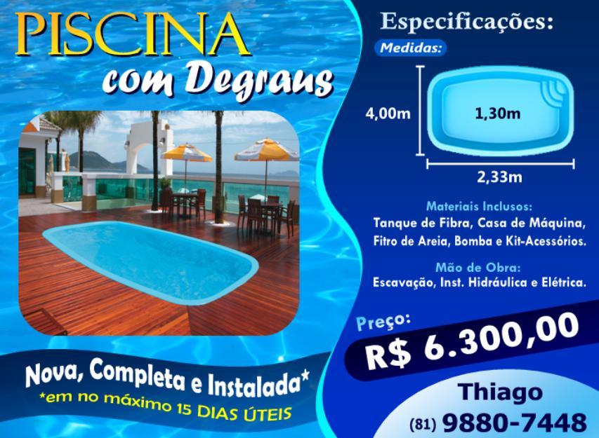 Piscina com degraus m x m x m vazlon brasil for Valor piscina de fibra