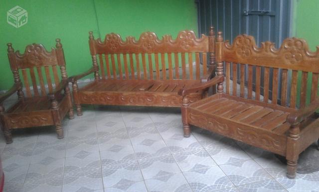 Sofa rustico 2 pecas em angelim excelente para decorar for Sofa cama rustico