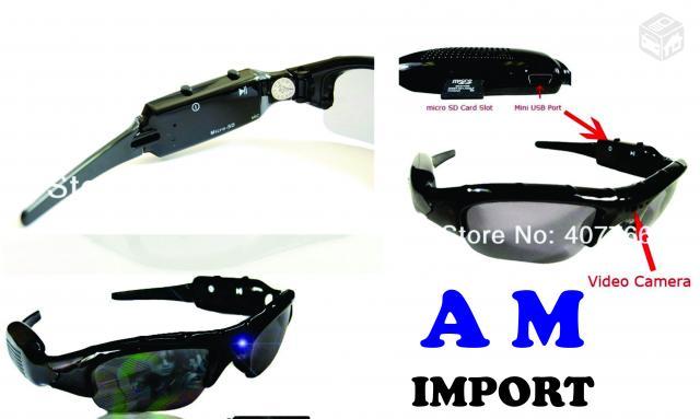 fde4fad591490 Óculos Espião Hd 720p Câmera Espiã Vídeo Fotos Spy. Óculos De Sol Com Câmera  Espiã - R