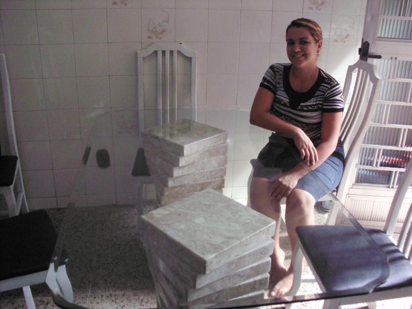 Mesa de jantar em vidro bisotado e bases de granito mesa - Mesa de granito ...