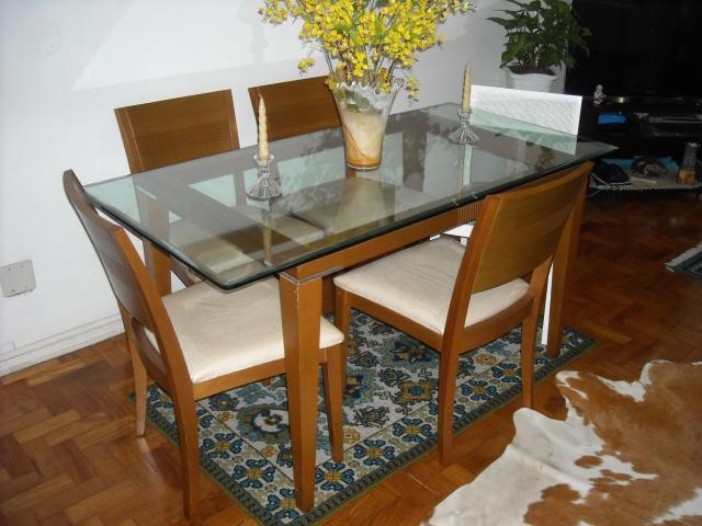 Sala De Jantar Na Atlantida Moveis ~ mesa de jantar de 6 lugares tampo de vidro bisotado linda  Vazlon