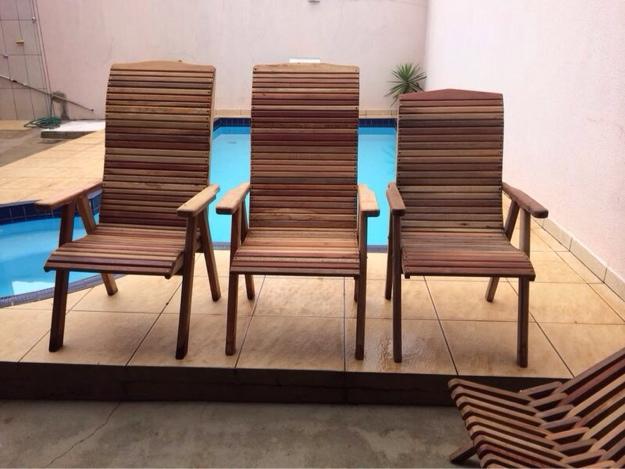sofa e cadeiras em madeira jardim e area externa usado ...