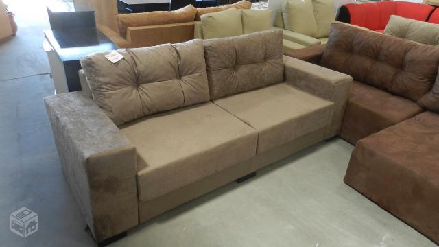 Estofadosofa 3 lugares suede amassado com chaise r for Sofa 03 lugares com chaise