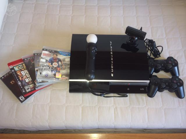 Playstation 3 + PS Move + 6 jogos