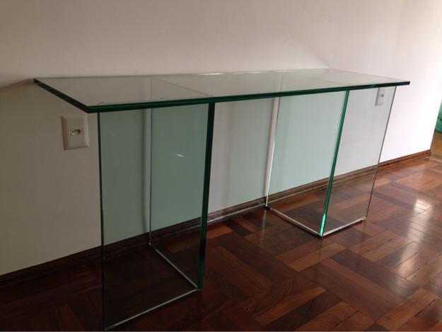 Armario De Solteiro Com Espelho ~ aparador em vidro cristal mm novo Vazlon Brasil