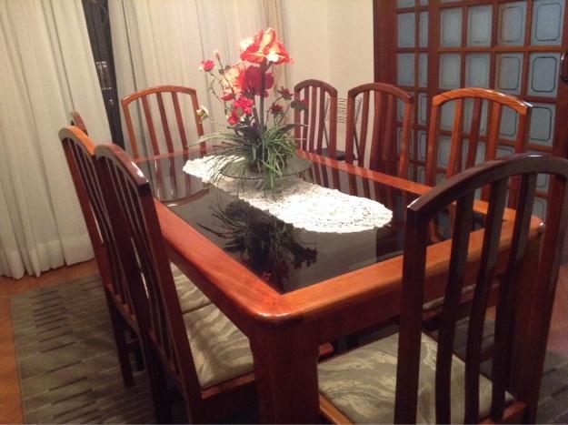 sala de jantar completa usada em ótimo estado mesa de mogno com tampo