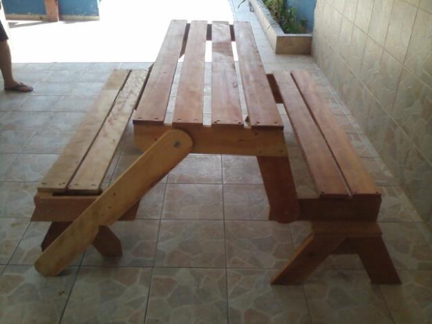 Artesanato Luminaria ~ banco rustico mineiro vira mesa de jantar madeira Vazlon Brasil