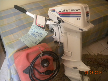 Motor de Popa Johnson  + Tanque OMC; Manual e Nota  -