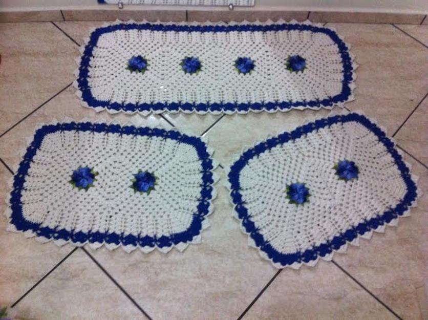 decoracao branca azul aracatuba:jogo p cozinha em croche
