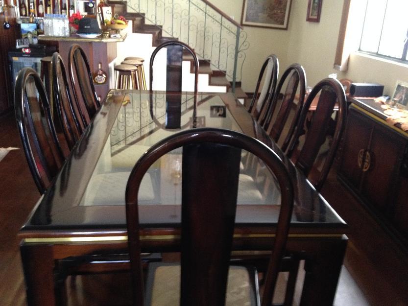 Jogo De Sala De Jantar Em Madeira ~ jogo de sala de jantar mesa de madeira com centro de vidro da trevisan