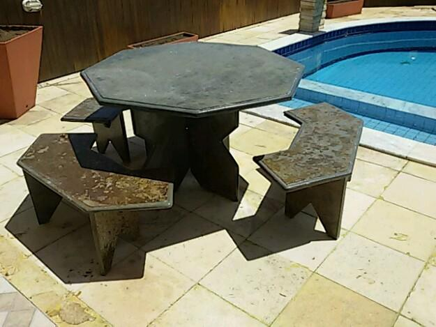 banco de jardim ardosia : banco de jardim ardosia:Mesa de bilhar com pedra de ardósia