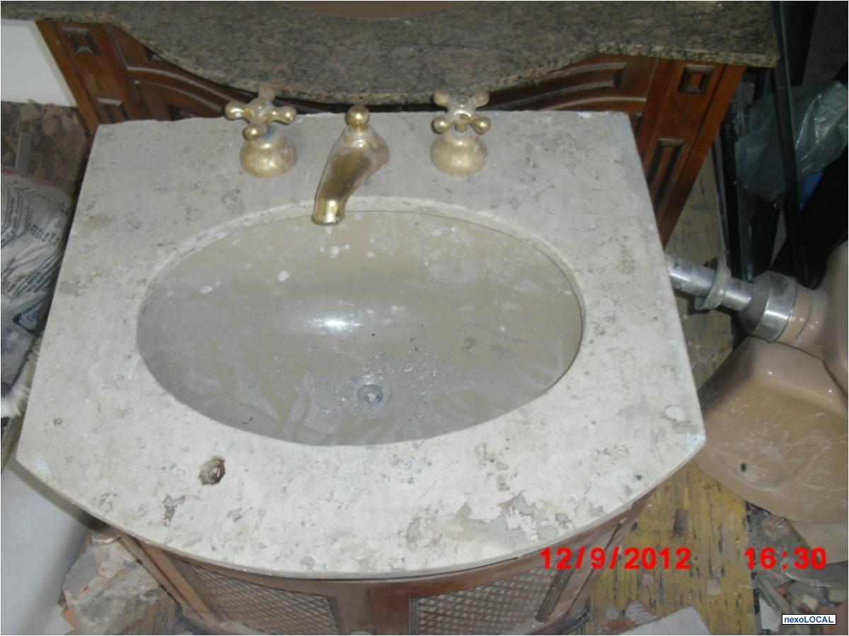 gabinete com cuba pedra banheira e box  Vazlon Brasil -> Gabinete De Banheiro Travertino