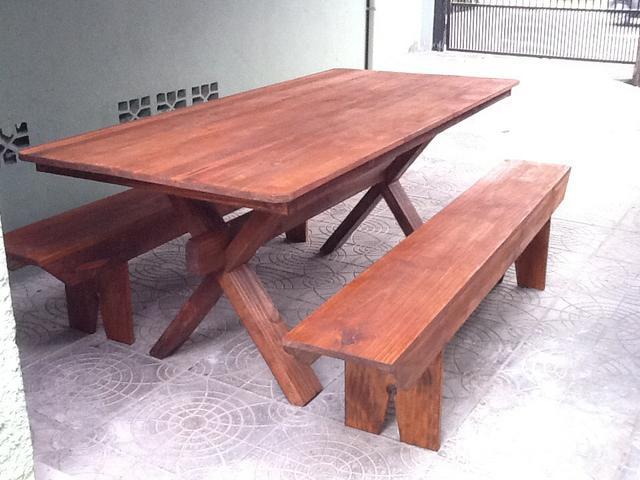 Mesa de madeira para area de churrasco vazlon brasil for Mesa 2 metros comensales