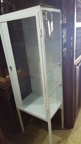 Armario De Ferro Antigo : Armario vitrine farmacia com chave antigo completo