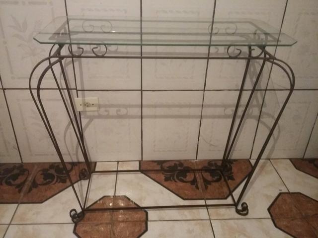 Armario De Cozinha De Madeira ~ aparador de ferro com tampo de vidro Vazlon Brasil
