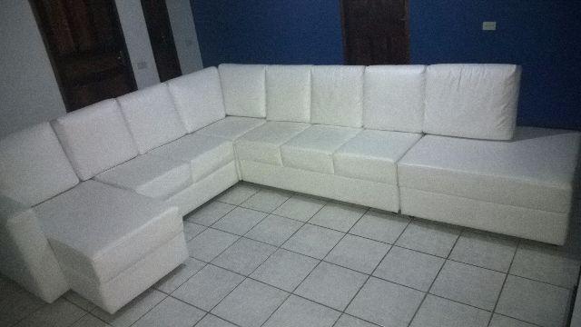 Sofa de canto em couro branco r vazlon brasil for Sofa de canto 8 lugares