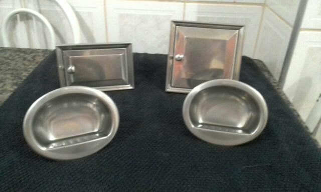 Kit Banheiro Moldenox : Porta sabao e detergente embutir inox moldenox vazlon brasil
