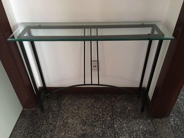 Armario De Cozinha De Madeira ~ aparador ferro pintado cor marrom c tampo vidro x Vazlon Brasil