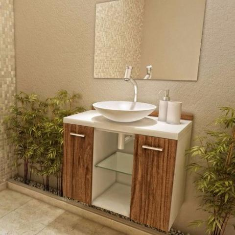 Gabinete para banheiro completo com espelho e prateleira for Armarios para lavabos