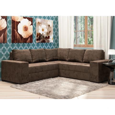Sofa cama marrom tecido aveludado muito novo vazlon brasil for Sofa de canto 6 lugares