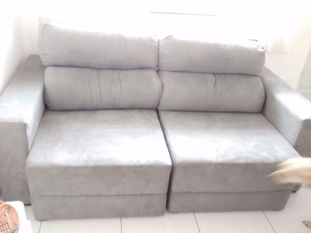 Sofa 3 lugares retratil com chaise long marrom vazlon brasil for Sofa 03 lugares com chaise